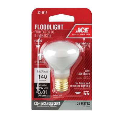 Ace  25 watt R14  Floodlight  Incandescent Light Bulb  Intermediate Base  Soft White  1 pk