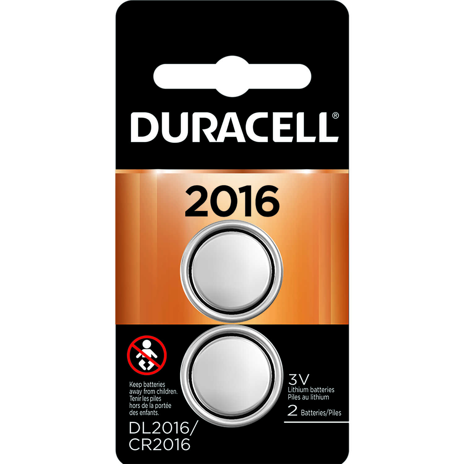 Duracell  Lithium  DL2016/CR2016  3 volt Security and Electronic Battery  2 pk