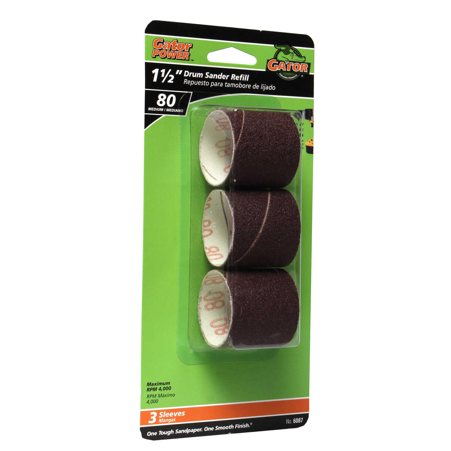 Gator  1.5 in. Dia. x 1.5 in. L Aluminum Oxide  Drum Sander Refill  Medium  3 pc. 80 Grit