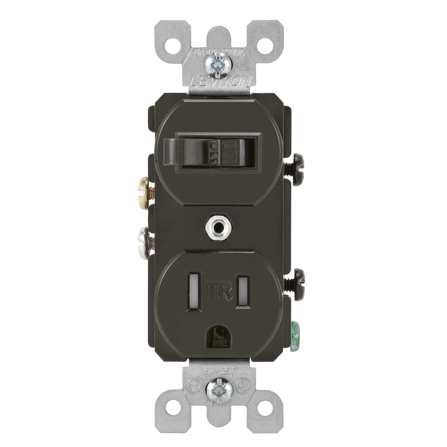 Leviton  15 amps 125 volt Brown  Combination Switch/Outlet  5-15R  1 pk
