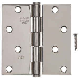 Ace  4 in. L Stainless Steel  Metal  Residential Door Hinge  1 pk