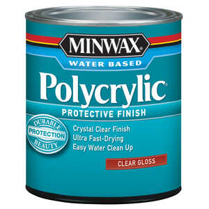 Minwax  Indoor  Clear  Polycrylic  0.5 pt. Gloss  Gloss