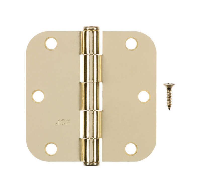 Ace  3-1/2 in. L Bright Brass  Brass  Residential Door Hinge  1 pk