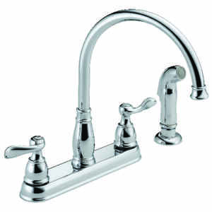 Delta  Windermere  Two Handle  Chrome  Kitchen Faucet  Side Sprayer Included