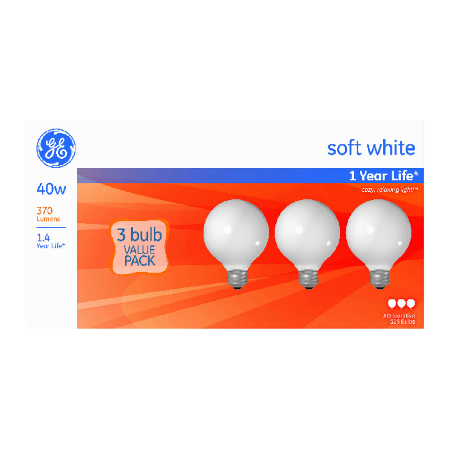 GE Lighting  40 watts G25  Incandescent Bulb  370 lumens Soft White  Globe  3 pk
