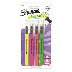 Sharpie  Clear View  Neon Color Assorted  Chisel Tip  Highlighter  4 pk