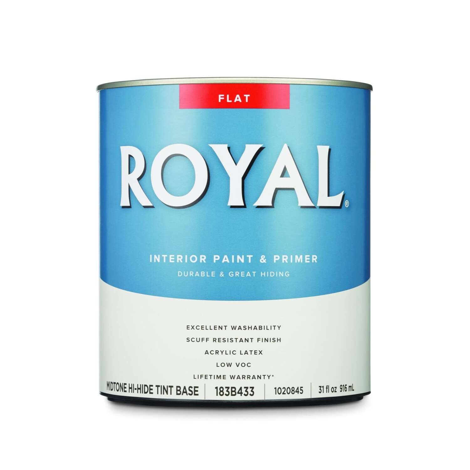 Royal  Flat  Tint Base  Mid-Tone Base  Paint  Interior  1 qt.