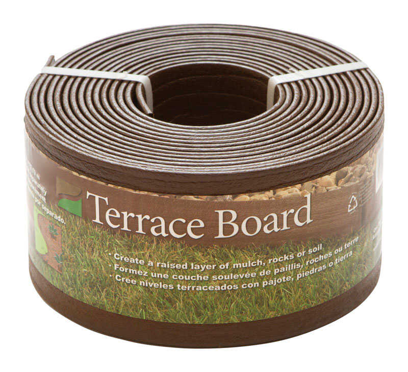 Master Mark  Terrace Board  20 ft. L x 4 in. H Plastic  Brown  Lawn Edging