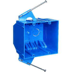 Carlon  3-3/4 in. PVC  Outlet Box  Blue  2 gang Rectangle