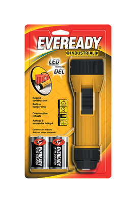 Energizer  150 lumens Black/Yellow  LED  Flashlight  D Battery
