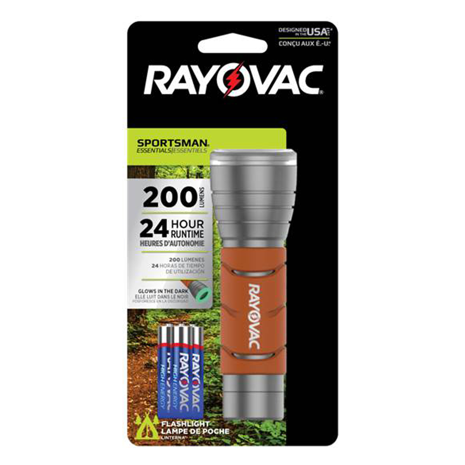 Rayovac  Sportsman Essentials  200 lumens Orange  LED  Flashlight  AAA