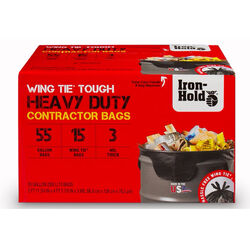 Iron-Hold  55 gal. Contractor Bags  Wing Ties  15 pk