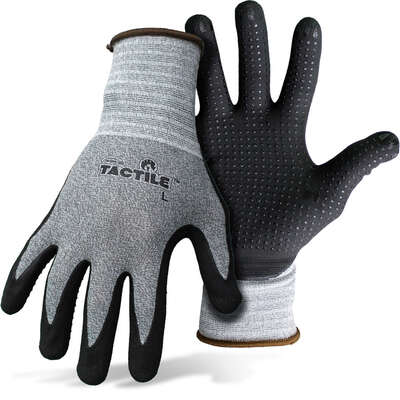 Boss  Tactile  Men's  Indoor/Outdoor  Nitrile Coated/Nylon  Dotted and Dipped  Work Gloves  Black/Gr