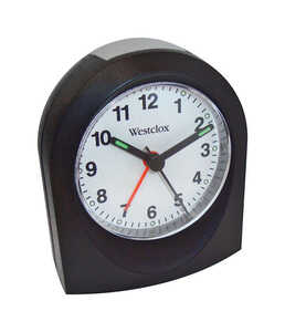 Westclox  3 in. Analog  Black  Alarm Clock