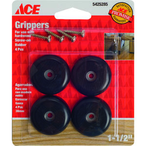 Ace  Plastic  Heavy Duty Anti-Skid Pads  Black  Round  1-1/2 in. W 4 pk