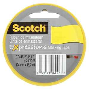 Scotch  Expressions  0.94 in. W x 20 yd. L Masking Tape  Yellow  Low Strength  1 pk