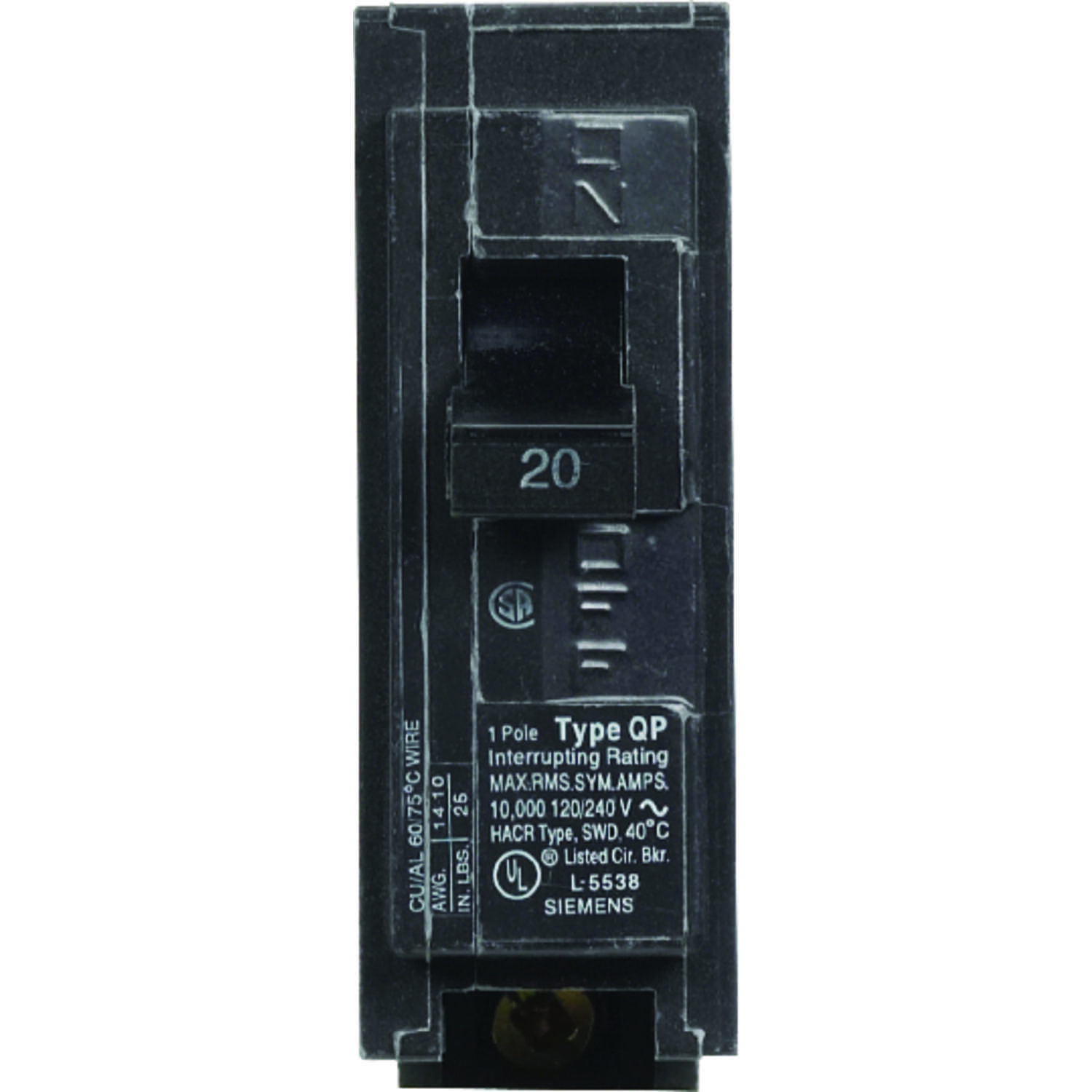Siemens  HomeLine  20 amps Single Pole  1  Circuit Breaker
