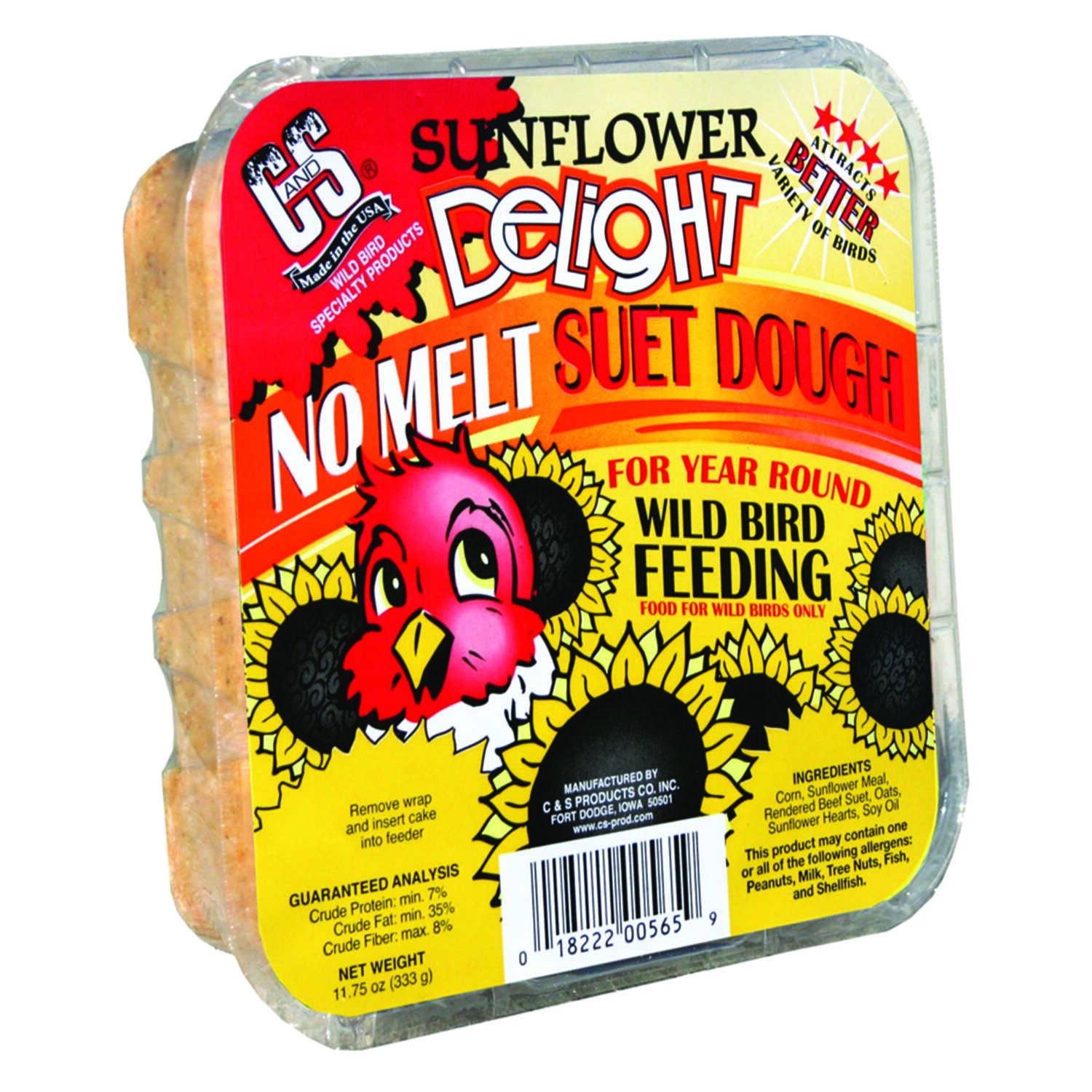 C&S Products  Sunflower Delight  Assorted Species  Wild Bird Food  Beef Suet  11.75 oz.