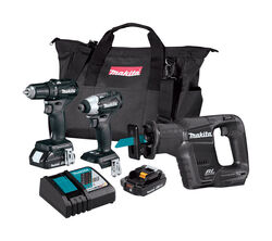 Makita  LXT  Cordless  Brushless 3 tool Drill/Driver, Impact Driver and Reciprocating Saw Kit  18 vo