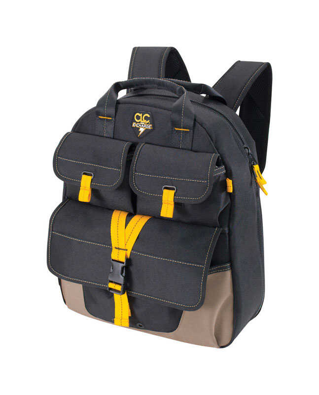 CLC  E-Charge  6 in. W x 19.5 in. H Polyester  Backpack Tool Bag  23 pocket Black/Tan  1 pc.
