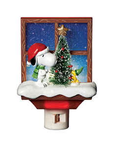 Roman  Snoopy and Woodstock Nightlight  Christmas Decoration  Assorted  Polyresin  1 pk