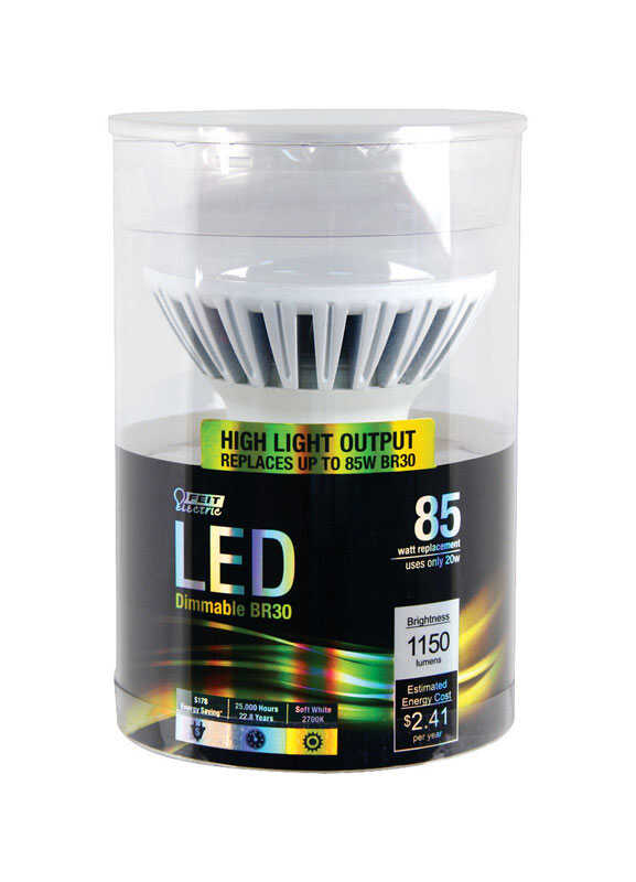 FEIT Electric  20 watts BR30  LED Bulb  1150 lumens Soft White  Reflector  85 Watt Equivalence