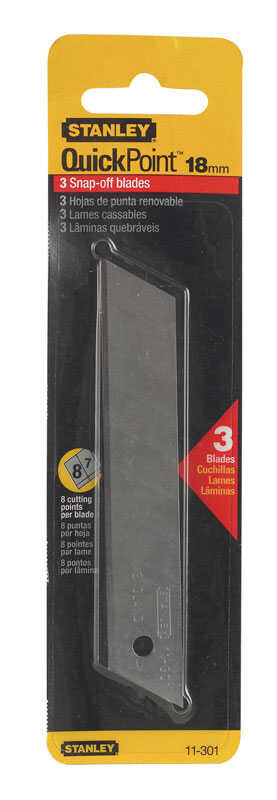 Stanley  Quick Point  4-1/4 in. L x 0.02 in.  Steel  Utility  Replacement Blade  3 pk