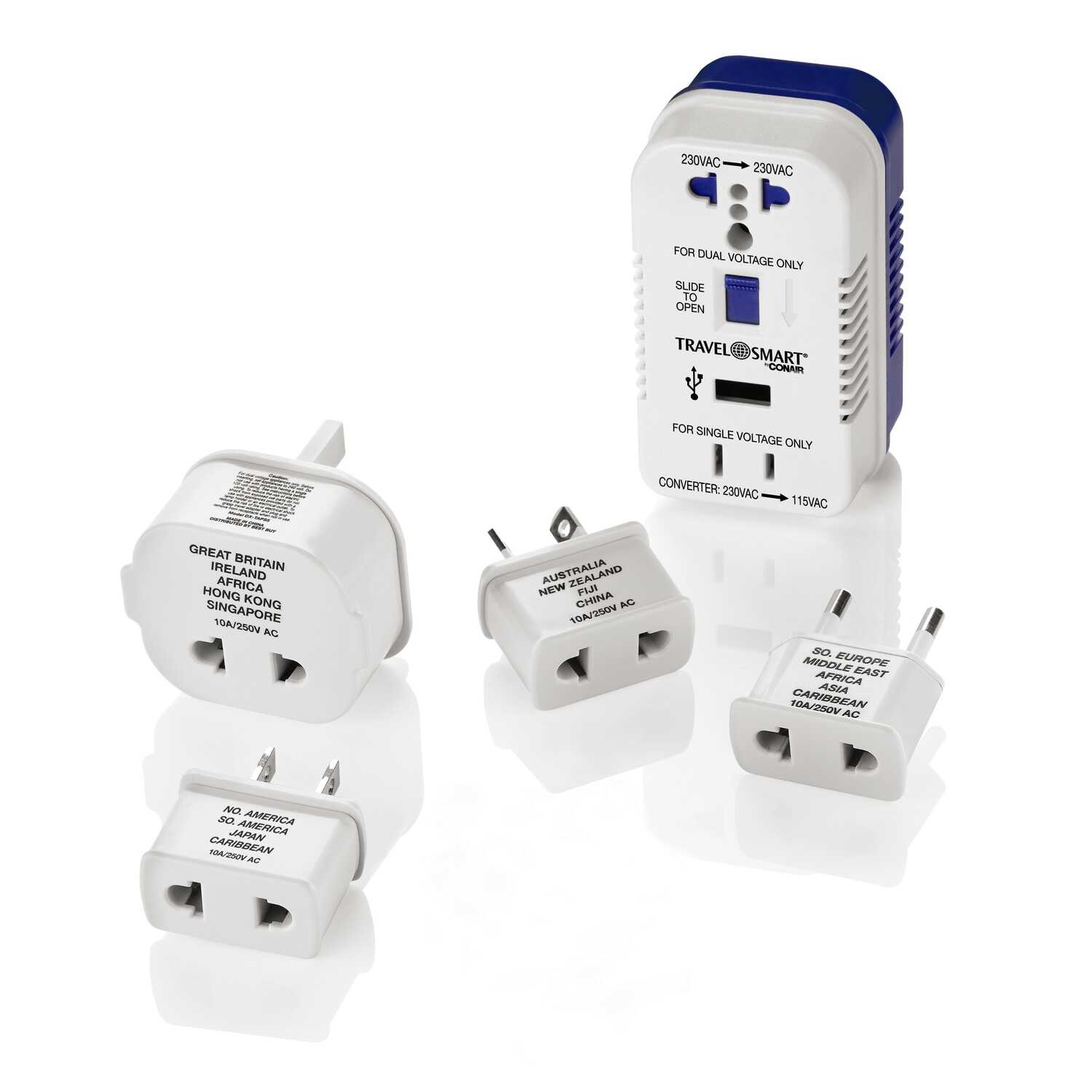 Travel Smart  Type A,  Type B,  Type C, Type E,  Type F,  Type G,  Type I  Two Outlet Converter Set