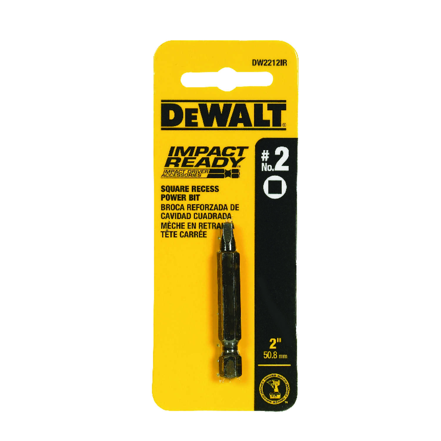 DeWalt  Impact Ready  #2 in.  x 2 in. L Square  Screwdriver Bit  Black Oxide  1 pc. 1/4 in.