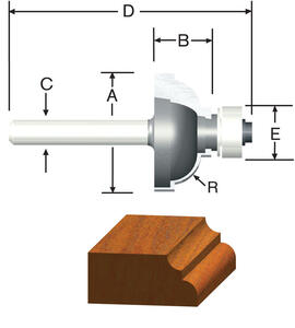 Vermont American  1-1/8 in. Dia. x 1/4 in.  x 2-1/8 in. L Carbide Tipped  Cove & Fillet  Router Bit