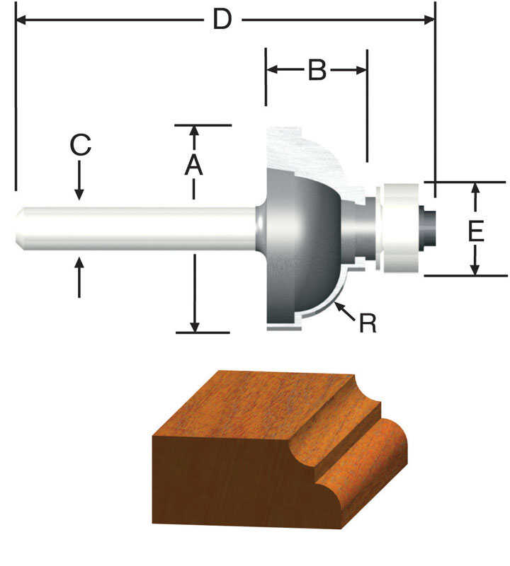 Vermont American  1/4 in. Radius  1-1/8 in. Dia. x 2-1/8 in. L x 1/4 in.  Carbide Tipped  Router Bit