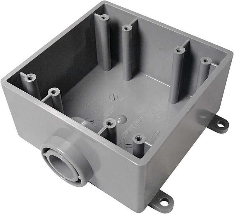 Cantex  Square  PVC  2 gang 2 Gang  Gray  Outlet Box  6 in.