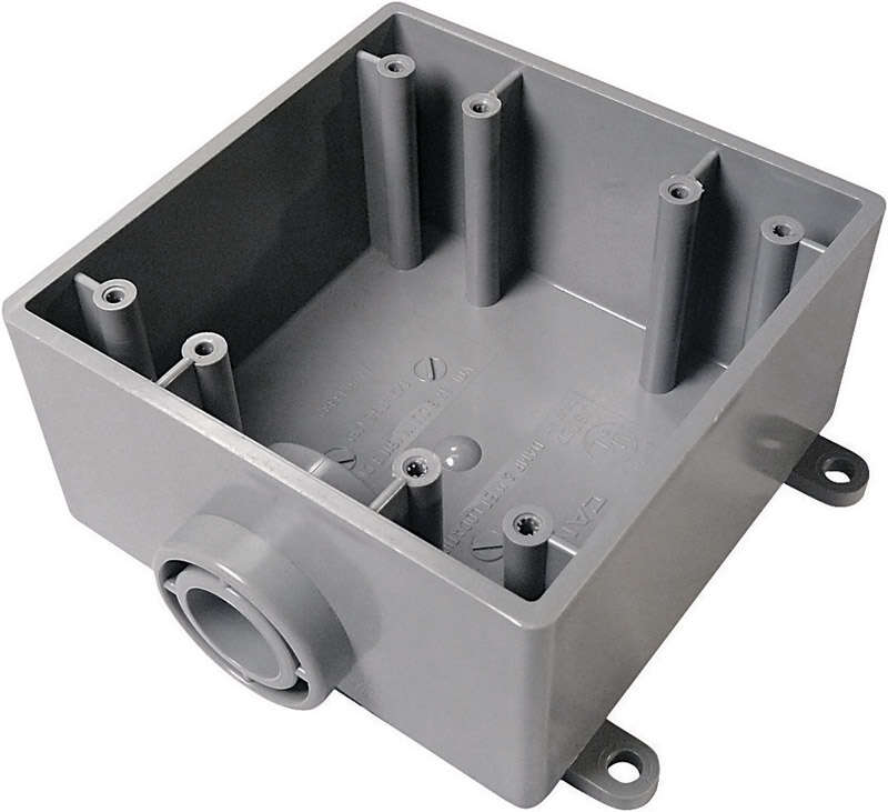 Cantex  6 in. Square  PVC  2 gang Outlet Box  Gray