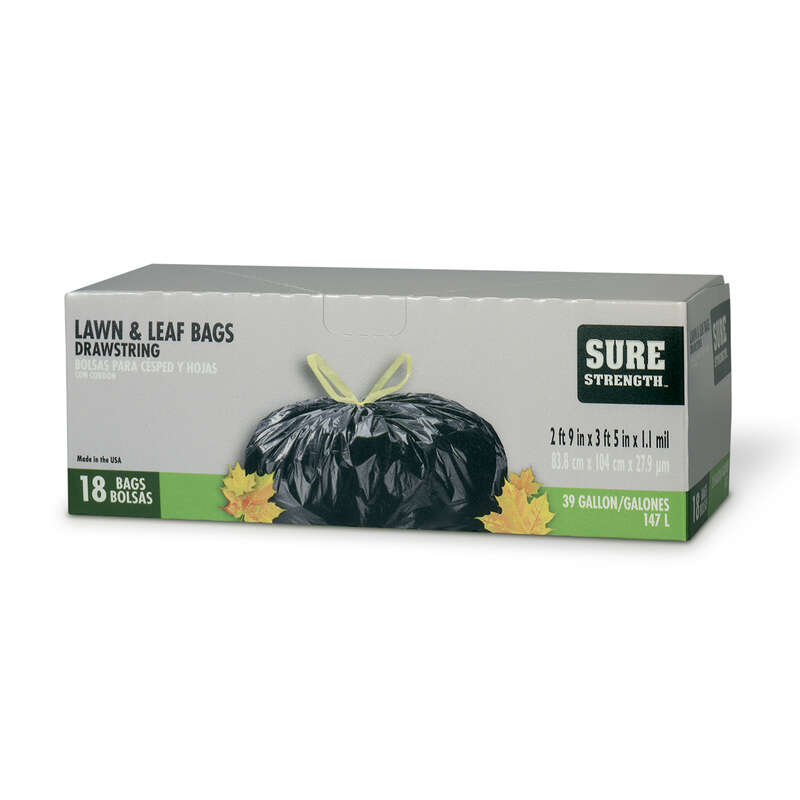 Sure Strength  39 gal. Lawn and Leaf Bags  Drawstring  18 pk