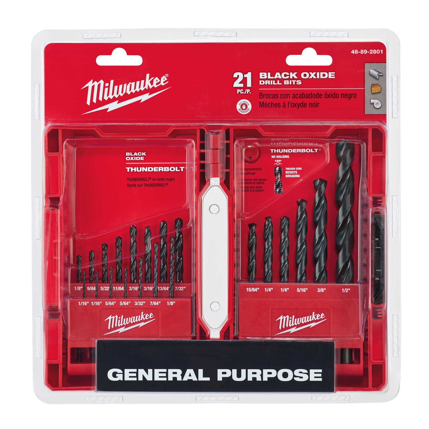 Milwaukee  THUNDERBOLT  Assorted  Dia. Black Oxide  Drill Bit Set  3/8 in. 21 pc. 3-Flat Shank