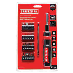 Craftsman  Multi Size   x 1 in. L Carbide  1/4 in. Hex Shank  25 pc. Screwdriver Bit