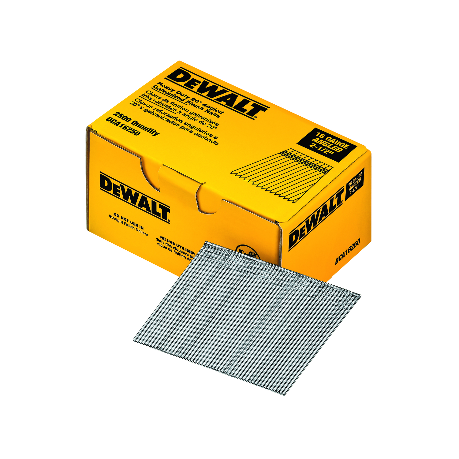 DeWalt 2-1/2 in. 16 Ga. Angled Strip Finish Nails 20 deg. Smooth Shank 2500 pk