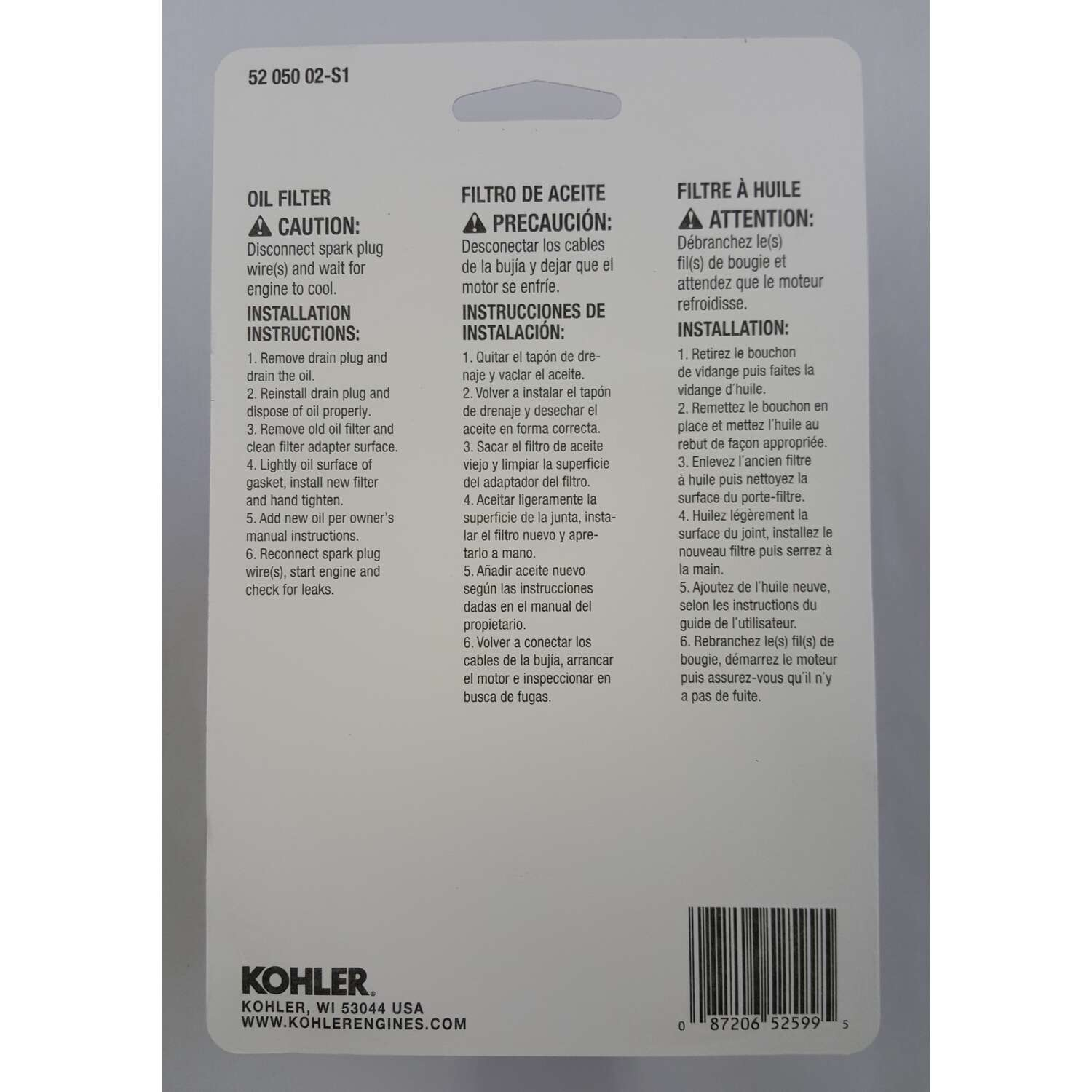 Kohler  Pro Series  Oil Filter
