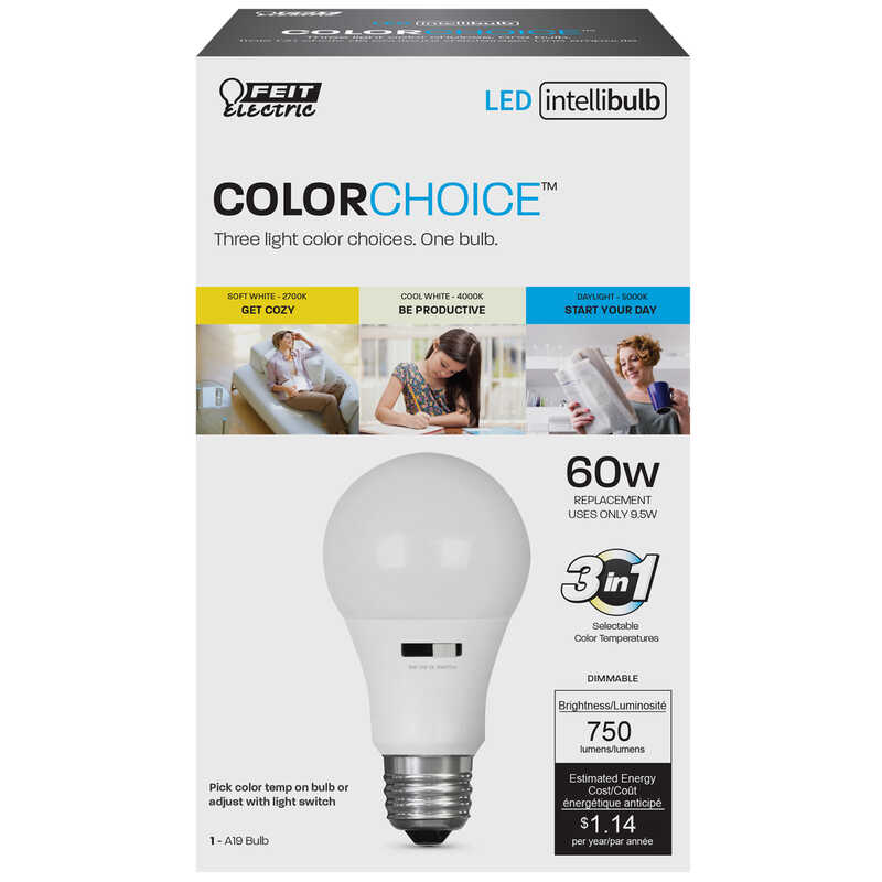 FEIT Electric  Intellibulb COLORCHOICE  9.5 watts A19  LED Bulb  750 lumens Warm White  A-Line  60 W