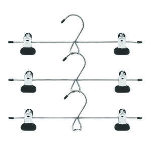Whitmor  2 in. H x 4 in. L x 13 in. W Black  Skirt/Slack Hanger  3 pk Steel