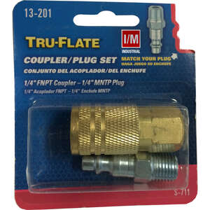 Tru-Flate  Brass/Steel  Air Coupler and Plug Set  1/4 in. Female  Female/Male  1 pc.