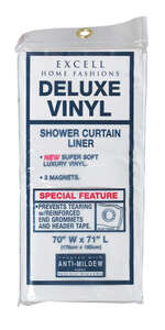 Excell  70 in. H x 71 in. W Solid  White  Shower Curtain Liner