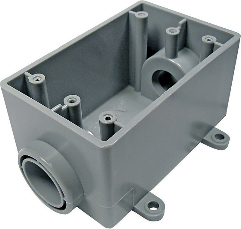 Cantex  2-1/4 in. Rectangle  PVC  1 Gang  Gray  Outlet Box