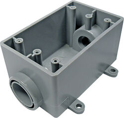 Cantex  2-1/4 in. Rectangle  PVC  1 gang Outlet Box  Gray