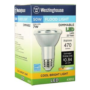 Westinghouse  PAR20  E26 (Medium)  LED Bulb  Cool White  50 Watt Equivalence