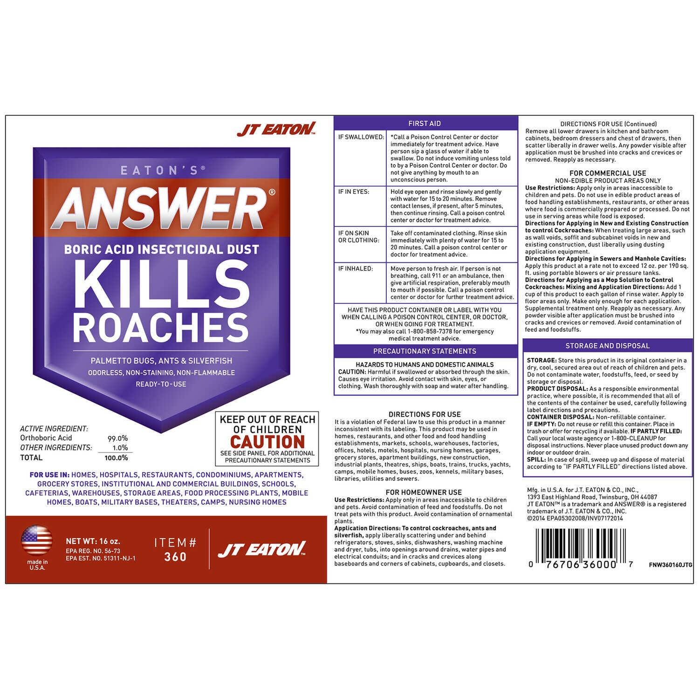 JT Eaton Answer Boric Acid KILLS Organic Insect Killer 16 oz