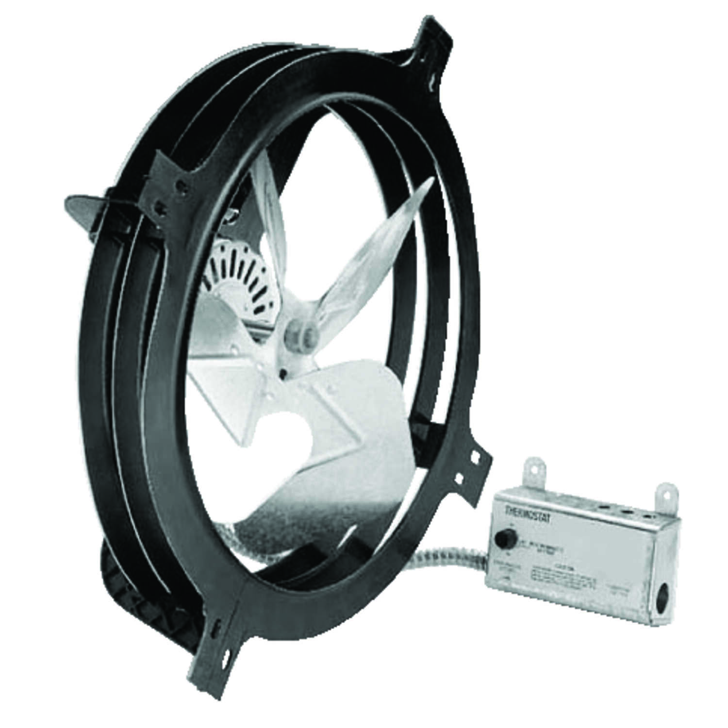 Air Vent  18 in. H x 17.8 in. W x 7.3 in. L x 15 in. Dia. Plastic and Steel  Gable Mount Power Fan