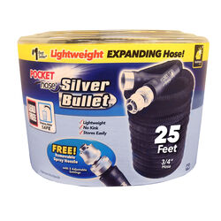 Pocket Hose  Silver Bullet  3/4 in. Dia. x 25 ft. L Expanding  Black  Fabric  Garden Hose