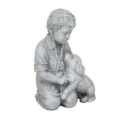 Infinity  Cement  White  18.9 in. Boy with Dog  Statue