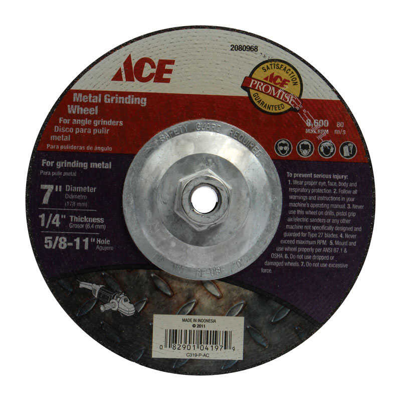 Ace  7 in. Dia. x 1/4 in. thick  x 5/8 in.   Aluminum Oxide  Metal Grinding Wheel  8600 rpm 1 pc.
